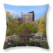 Boston Public Garden Pond In Spring Throw Pillow