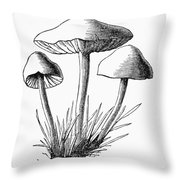 Botany: Mushroom Throw Pillow