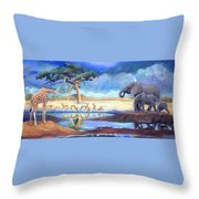 Botswana Watering Hole Throw Pillow