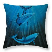Bottle-nose Dolphins Throw Pillow