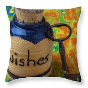 Bottle Of Wishes Throw Pillow by Garry Gay