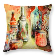Bottles And Glasses And Mugs 03 Throw Pillow