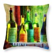 Bottles Of Wine Near Window Throw Pillow