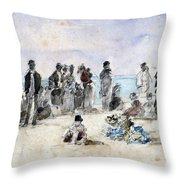 Boudin: Beach Scene, 1869 Throw Pillow