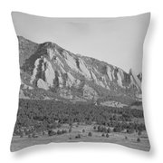 Boulder Colorado Flatiron Scenic View With Ncar Bw Throw Pillow