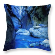 Boulder Filled River At Bottom Of Canyon Throw Pillow