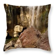 Boulders Under The Falls Throw Pillow