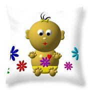 Bouncing Baby Girl With 7 Flowers Throw Pillow
