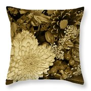 Bouquet In Sepia Throw Pillow