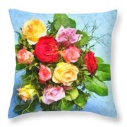 Bouquet Of Colorful Flowers - Digital Watercolor Painting Throw Pillow