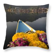 Bouquet Of Flowers In Bow Of Boat Dal Throw Pillow