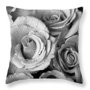 Bouquet Of Roses With Water Drops In Black And White Throw Pillow