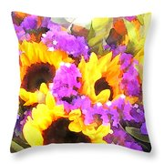 Bouquet Of Sunflowers And Purple Statice Throw Pillow