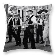 Bourbon Street Second Line Wedding New Orleans In Black And White Throw Pillow
