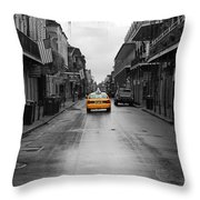Bourbon Street Taxi Cab French Quarter New Orleans Color Splash Black And White Throw Pillow