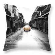 Bourbon Street Taxi French Quarter New Orleans Color Splash Black And White Diffuse Glow Digital Art Throw Pillow