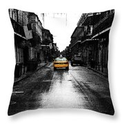 Bourbon Street Taxi French Quarter New Orleans Color Splash Black And White Fresco Digital Art Throw Pillow