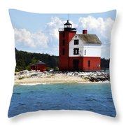 Round Island Light House Michigan Throw Pillow