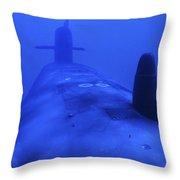 Bow View Of The Uss Kamehameha Throw Pillow by Michael Wood