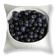 Bowl Of Blueberries Throw Pillow