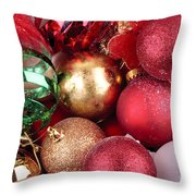 Box Of Christmas Decorations  Throw Pillow