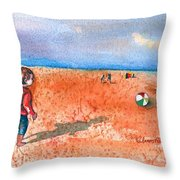 Boy At Beach Playing And Chasing Ball Throw Pillow