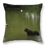 Boy Fishing In A Pond With A Black Throw Pillow