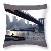 Boy Freighter Brooklyn Bridge Sunset Throw Pillow