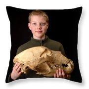 Boy Holding Kodiak Bear Skull Throw Pillow