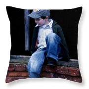 Boy In Window Throw Pillow