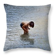 Boy Playing In The Pond Throw Pillow