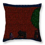 Boy Playing With The Bears Under The Apple Tree Throw Pillow