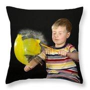 Boy Popping A Balloon Throw Pillow