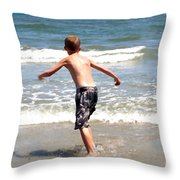 Boy Running Into Surf Throw Pillow