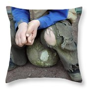Boy Sitting On Ball - Torn Trousers Throw Pillow