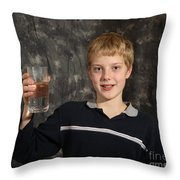 Boy With A Hot Glass Of Water Throw Pillow