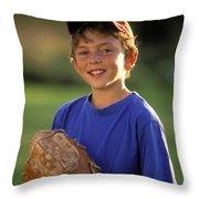 Boy With Baseball Glove Throw Pillow