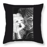 Boy With Pet Dog Throw Pillow