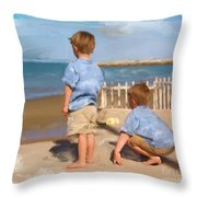 Boys And The Sea Throw Pillow