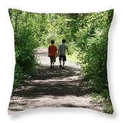 Boys Hiking In Woods Throw Pillow