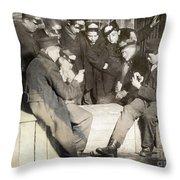 Boys Playing Poker, 1909 Throw Pillow