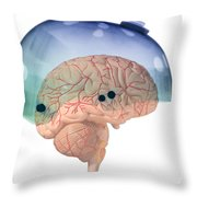 Brain In Skateboard Helmet Throw Pillow