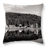 Brant Lake Reflections Black And White Throw Pillow