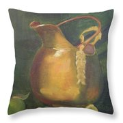 Brass And Tomatillos Throw Pillow by Lilibeth Andre