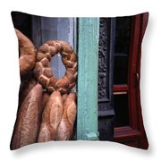 Bread Is Displayed In A Store Window Throw Pillow
