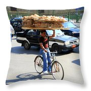 Bread On A Bicycle Throw Pillow