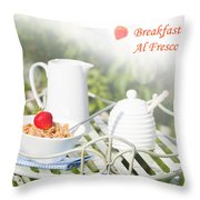 Breakfast Al Fresco Throw Pillow by Amanda Elwell