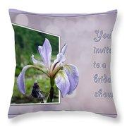 Bridal Shower Invitation - Blue Flag Iris Wildflower Throw Pillow