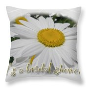Bridal Shower Invitation - White Ox Eye Daisy Throw Pillow