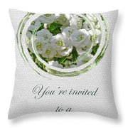 Bridal Shower Invitation - White Spirea Throw Pillow